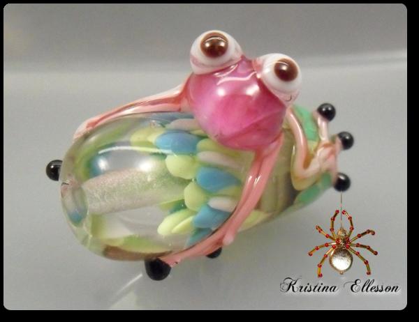 Frosch Pink Mariella Lampwork Glasperle